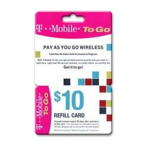 $10.00 T Mobile To Go Prepaid Wireless Refill Cards