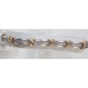 2ct Diamond & Two Tone Gold Ladys Bracelet, Brand New Jewelry