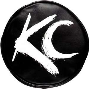 KC HiLites KCH 5117 Light Cover Pair Blk with Wht Brushed KC Logo 6 in