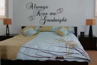 Always Kiss Me Goodnight Wall Quote Decal Vinyl Sticker Wall Art