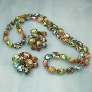 Vtg NAPIER Pastels Foil Glass Bead Necklace Earring Set