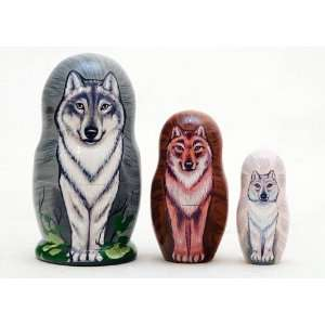 Wolf Pack Nesting Doll 3pc./3.5 Toys & Games