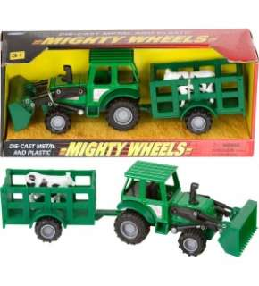 Mighty Wheels Die Cast 8 Farm Tractor Trailer *New*