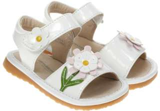 Girls Toddler Leather Squeaky Shoes Sandals White NEW