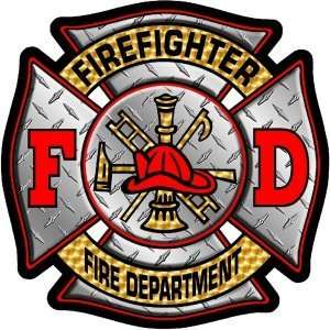 x4 Diamond Plate Firefighter Fire Department Exterior Window Decal
