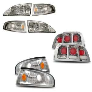 94 98 Ford Mustang Chrome Headlights /w Amber Corner + Corner Light