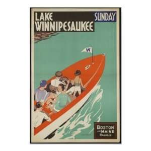 Lake Winnipesaukee Vintage Travel Poster Ad Retro