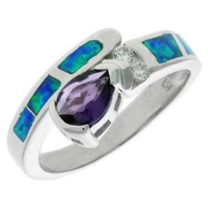 Sterling Silver, Synthetic Opal Inlay Ring, w/ Pear shaped Amethyst CZ