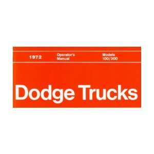 1972 DODGE LIGHT DUTY TRUCK Owners Manual User Guide Automotive