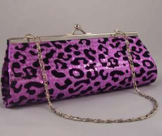 CHEETAH ANIMAL PRINT SATIN SEQUIN EVENING BAG PARTY CLUTCH PURSE w