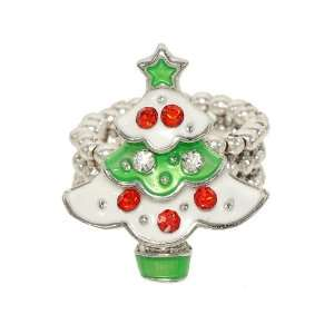 Cute Little Red, Green and White Christmas Tree Stretch Fashion Ring