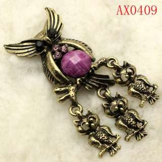 Awesome Crystal Owl Antique Bronze Brooch  AX0409