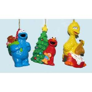 Set of 3 Sesame Street Elmo, Big Bird and Cookie Monster Christmas
