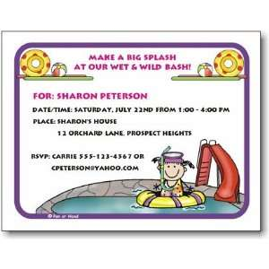 Pen At Hand Stick Figures   Invitations   Pool   Girl (Inv