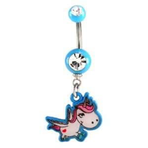 Clear Jeweled Cute Blue Unicorn Design Belly Ring   14g (1