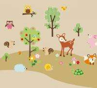 Woodland Animals & Trees Wall Sticker Decals boys girls kids Children