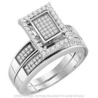 LADIES WHITE GOLD FINISH MICRO PAVE DIAMOND BRIDAL ENGAGEMENT RING SET