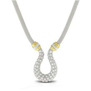 Jewelry .925 Sterling Silver Gold Vermeil Horseshoe Encrusted Necklace