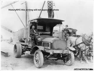 1913 MACK TRUCK & HORSES NEW YORK CONSTRUCTION PHOTO
