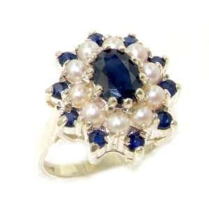 Solid White Gold Natural Sapphire & Pearl 3 Tier Large Cluster Ring
