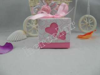100pcs Romantic Heart Ribbon couple Wedding Favor Candy Boxes Gift Box