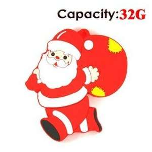 32GB Running Santa Claus USB Flash Drives Disk (Red