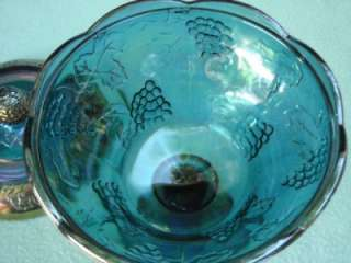 Blue Carnival Glass Candy Dish w Lid Grapes Leaves 10
