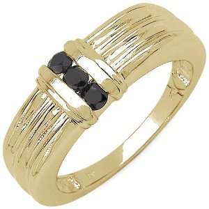 24 Carat 14K Yellow Gold Plated Sterling Silver Genuine Black Diamond