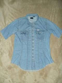 PEPE JEANS LONDON L short sleeve button Denim Collar shirt C38