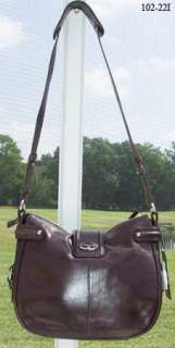 FRANCESCO BIASIA COFFEE BROWN LUCKY SEVEN LEATHER HOBO SHOULDER