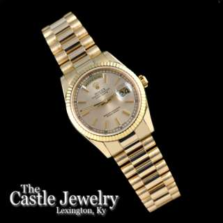Mens Rolex President 18K Yellow Gold Day Date Champagne Dial 118238 D