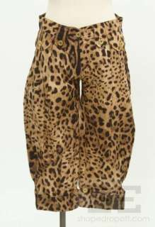 Gabbana Tan & Brown Leopard Print Pleated Front Cropped Pants Size 38