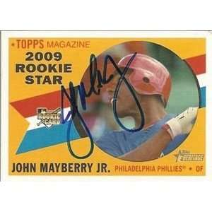 John Mayberry Jr Signed Phillies 09 Topps Heritage Card