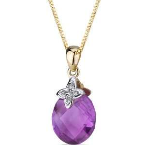 10 Karat Two Tone Gold 3.50 carat Checkerboard Cut Amethyst Diamond