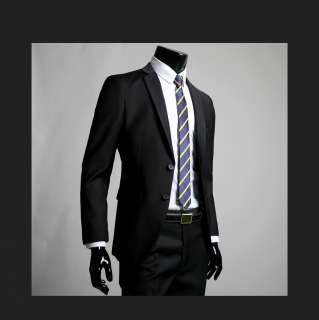 Mens Premium Slim Fit Dress Suit BLACK (SZ 30/36R) 01