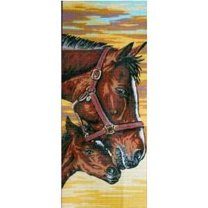 NUTBROWN HORSES, NOISETTE NEEDLEPOINT CANVAS Arts, Crafts