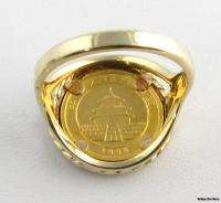 1996 5 Yuan 1/20oz Pure Gold Chinese Panda Coin Ring   10k Gold .999