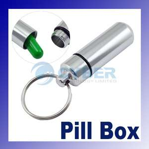 Aluminum Pill Box Case Bottle Drug Holder Keychain Container