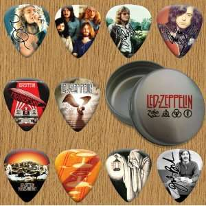 Led Zeppelin Signed Autographed 10 Guitar Picks Tin Set