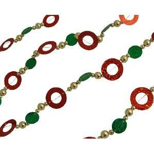 9 Red, Green & Gold Sequin Beaded Christmas Garland
