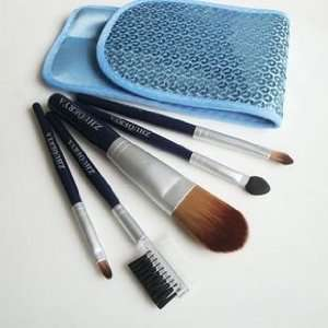 quality nylon hair Mini Cosmetic Brush Set With Free Shiny Blue Case