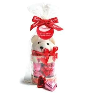 Valentines Day Teddy Bear   Mini Chocolate Hearts  4 Oz