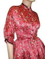 Vtg 50s Emma DOMB Red SILK Crinoline PARTY Dress XS 32B