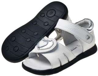 Girls Toddler Childrens Leather Sandals White / Cream