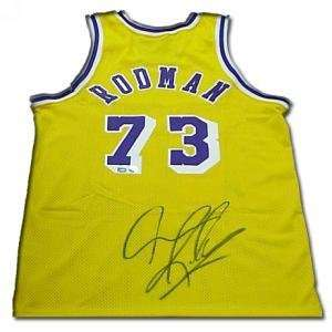 Dennis Rodman Signed Authentic Nike Lakers Jersey   Gold