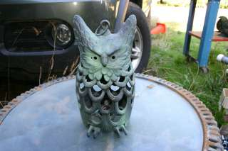 Cast Iron Owl Candle Holder circa 1950 with Hanging Loop