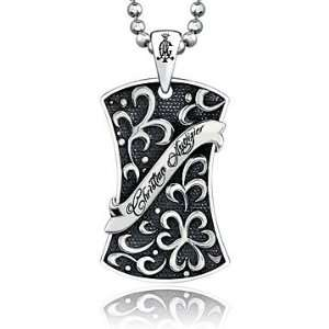 Christian Audigier 925 Sterling Silver Mens Filigree Dog Tag Pendant