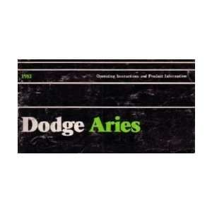 1981 DODGE ARIES Owners Manual User Guide Automotive
