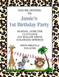 LEOPARD JUNGLE ZEBRA Baby Shower Birthday Invitations