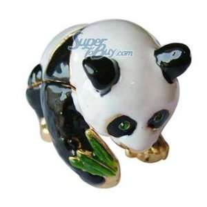 Panda with Green Bamboo   Jewelry Trinket Box Swarovski